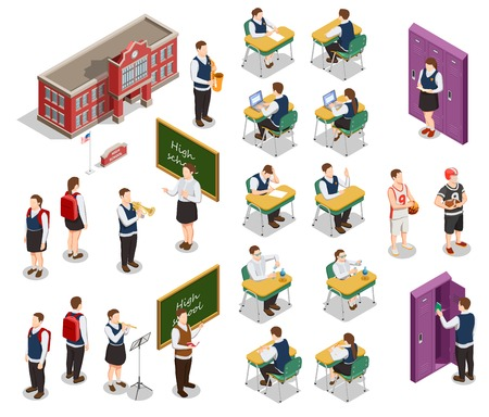 High school isometric people icons collection with human characters of teachers and students with school building vector illustration