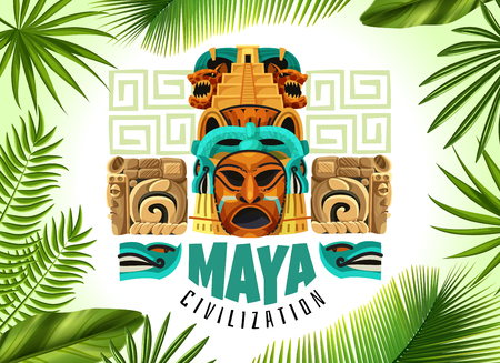 Maya civilization horizontal poster with mayan mask and fragments of ancient calendar cartoon vector illustration Vectores