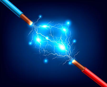 暗い背景ベクトルのイラストに稲妻放電と火花の現実的な組成と青と赤の電気ケーブル 写真素材 - 101856096