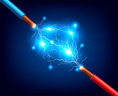 Blue and red electric cables with lightning discharge and sparks realistic composition on dark background vector illustration