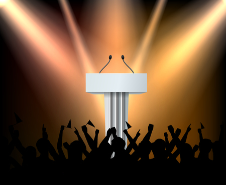 Empty white tribune on stage with illumination and silhouette of crowd realistic composition vector illustration Illustration