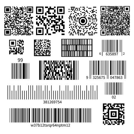 Tipos de códigos de barras de códigos de productos universales conjunto realista con símbolos de matriz bidimensional e ilustración de vector de sistema de números