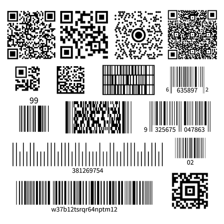 Universal product code barcode types realistic set with two dimensional matrix symbols and numbers system vector illustration Illustration