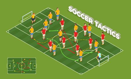 Composición isométrica de personas de fútbol soccer con imagen conceptual de juegos infantiles y jugadores de fútbol con flechas de colores ilustración vectorial