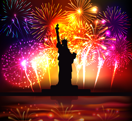 Independence day colorful poster with  statue of liberty silhouette on bright festive fireworks background realistic vector illustration 일러스트