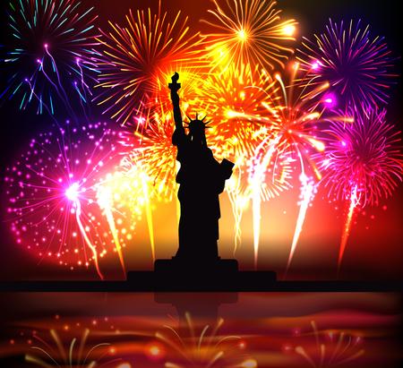 Cartel colorido del día de la independencia con la silueta de la estatua de la libertad en la ilustración de vector realista de fondo de fuegos artificiales festivos brillantes Ilustración de vector