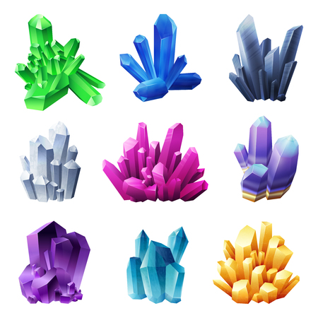 Realistic crystal minerals set of different forms gold blue purple and green colors isolated on white background vector illustration Stock Vector - 101856129