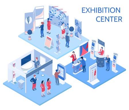 Izometryczne kompozycje centrum wystawowego z ludźmi, którzy patrzą na stoiska wystawowe w hali galerii i komunikują się z ilustracji wektorowych pracowników
