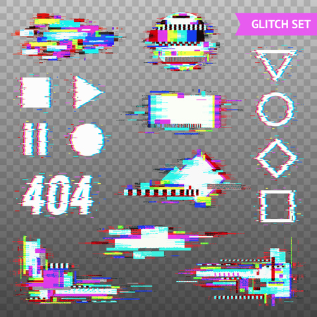 Set of simple geometric forms and digital elements in distorted glitch style on transparent background vector illustration