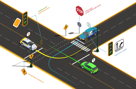 Driving school isometric composition with conceptual pictograms colourful arrows text captions and cars on road intersection vector illustration