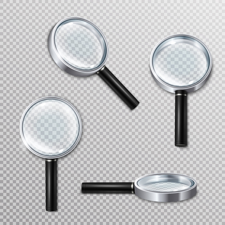 Set of realistic magnifying glasses with metal rim and black handle on transparent background isolated vector illustration Stock Vector - 101856181