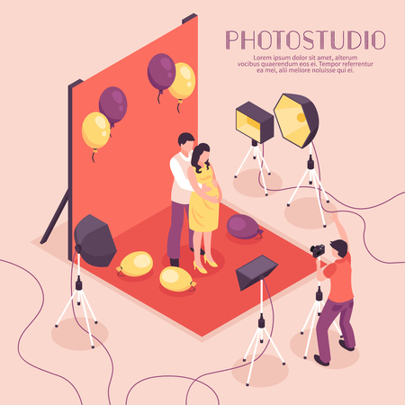 Man and pregnant woman having photo shoot in professional studio 3d isometric vector illustration