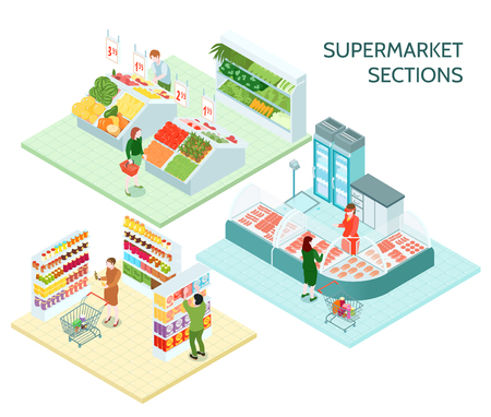 Supermarket sections isometric compositions with buyers choosing products on shelves  trays and counters illustration