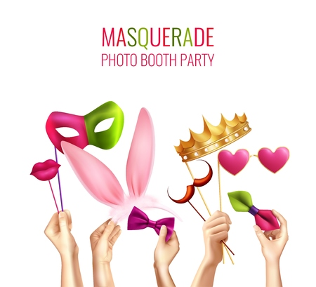 Photo booth party composition with human hands realistic images and custom hats bow tie sticker masks vector illustration