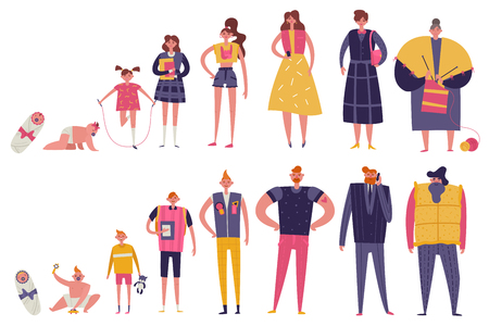 Life cycles of man and woman flat colored icons set of different ages from newborn to elderly isolated vector illustration