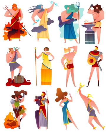 Insieme del fumetto di mitologia degli dei e della dea della grecia antica famosi così come apollo poseidon artemis athena demeter jupiter flat vector illustration Vettoriali