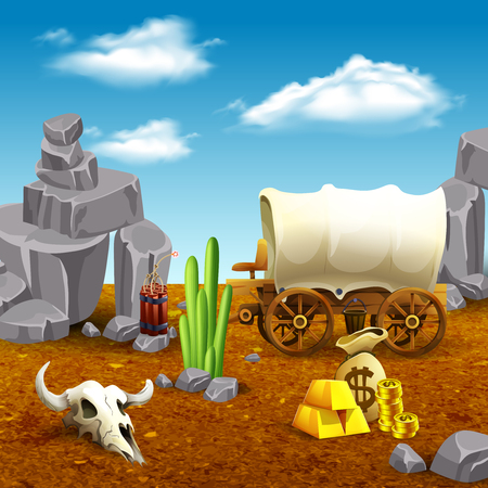 American old west, wooden cart, money, dynamite and animal skull on prairie nature background vector illustration