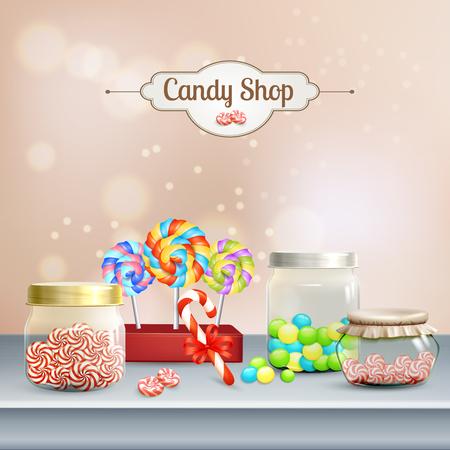 Candy shop composition, shelf with lollipops, caramels in glass jars on blurred beige background 3d vector illustration Illustration