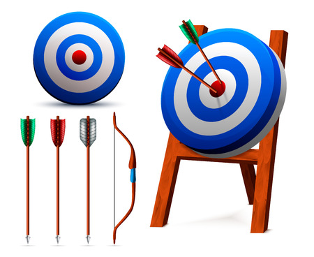 Set of realistic white blue targets and archery equipment including bow and arrows isolated vector illustration
