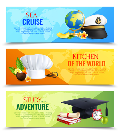 Different professions horizontal banners with realistic hats of captain, cook and student, colorful background isolated vector illustration Ilustração