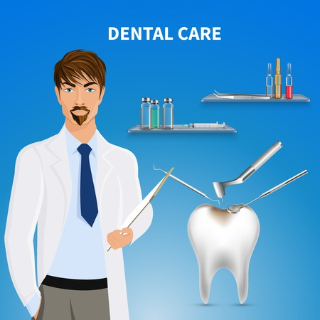 Dental oral care realistic composition with male doctor and mirror drill instruments removing tooth decay vector illustration