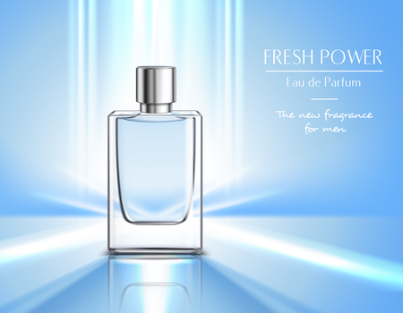 Nuova fragranza per poster di profumo da uomo con fiala di eau de parfum su sfondo blu e illustrazione realistica di vettore del titolo di potere fresco Vettoriali