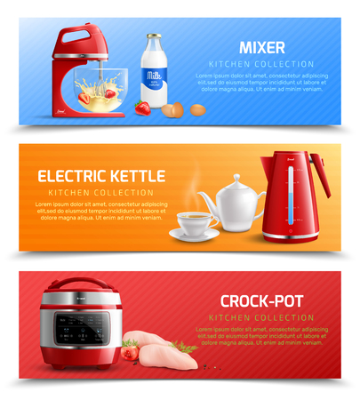 Household kitchen appliances horizontal banners with electric kettle mixer and crock pot realistic vector illustration