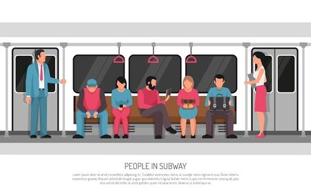 El título del encabezado del cartel plano del transporte subterráneo del metro con el sistema ferroviario de cercanías del metro los pasajeros del coche del tren vector la ilustración