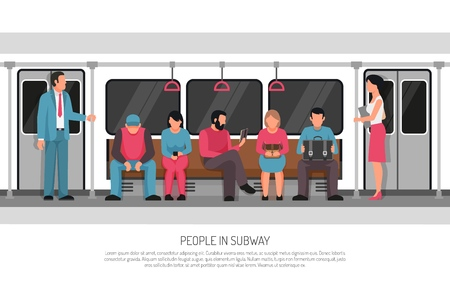 Subway underground transportation flat poster header title with metro commuter rail system train car passengers vector illustration Foto de archivo - 101856278