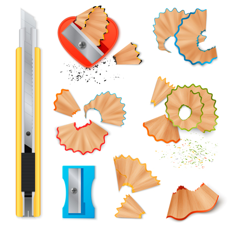 Realistic set of stationery with sharpener knife for pencils sharpening and shavings isolated icons on white background vector illustration Ilustração