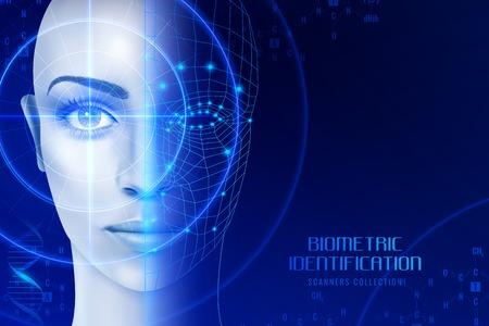 Biometrische identificatie, scanners in werkproces voor gezichts- en netvliesherkenning op donkere achtergrond vectorillustratie