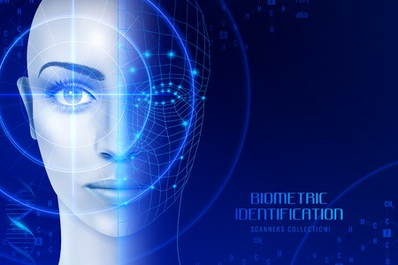 Identification biométrique, scanners en cours de travail pour la reconnaissance du visage et de la rétine sur illustration vectorielle fond sombre