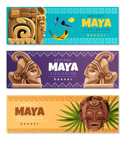 Maya civilization horizontal banners with symbols of traditional mayan culture history and religion isolated vector illustration