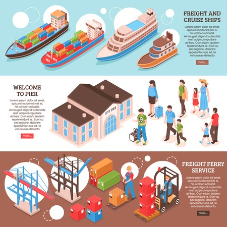 Colorful isometric set of three horizontal banners with cargo and cruise ships and passengers 3d isolated vector illustration