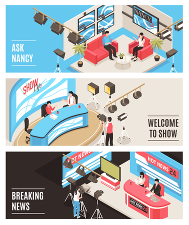 Horizontal isometric banners set with tv show and newscast broadcasting from studio 3d isometric isolated vector illustration Illustration