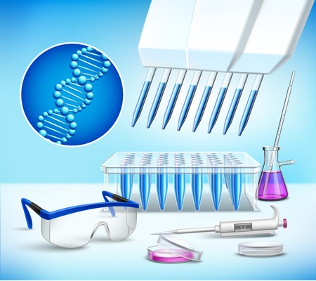 Scientific laboratory realistic composition  with dna icon and equipment for research and analysis vector illustration