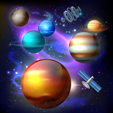 Cosmos realistic composition with images of aligned planets and artificial space satellite on colourful galaxy backround vector illustration