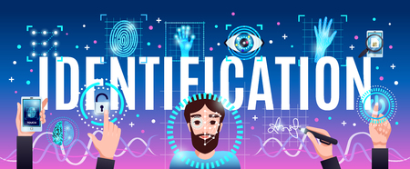 Identification innovative computer security technologies horizontal colorful composition header title with face hand eye recognition vector illustration Ilustracja