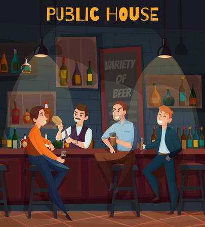 Colored restaurant pub visitors composition or flyer with public house big orange headline vector illustration Illustration