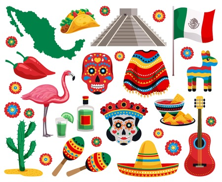 Mexican national symbols culture food musical instruments souvenirs colorful objects collection with tequila tacos mask sombrero vector illustration Çizim