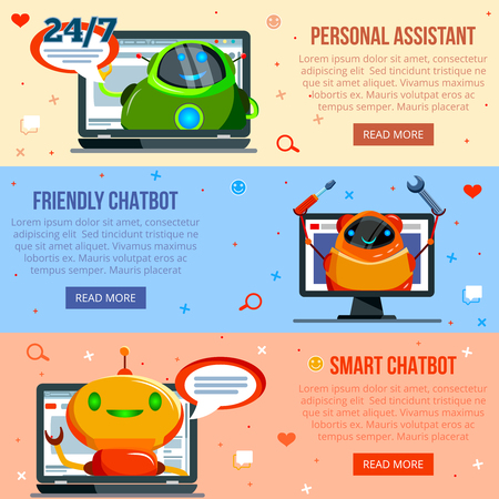 Set of horizontal flat banners personal  assistant, smart and friendly chat bot isolated vector illustration