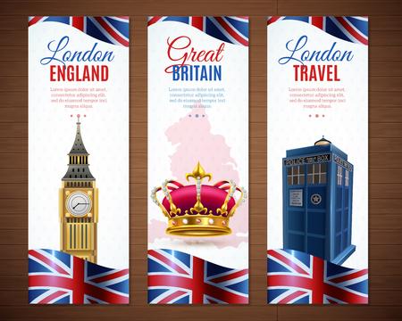 영국 런던 세트 빅 벤 이미지 벡터 일러스트와 함께 수직 배너 여행