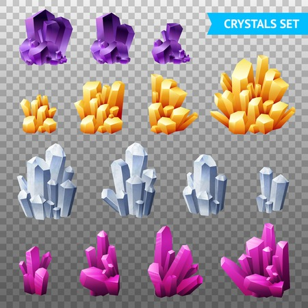 Set of realistic crystals gems and diamonds of different forms isolated on transparent background vector illustration 版權商用圖片 - 101862341