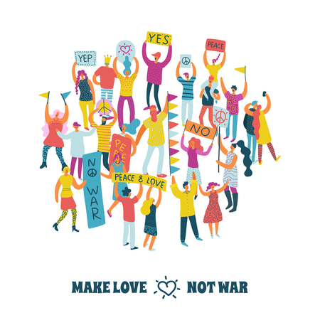 People for peace design concept with protesting crowd and make love not war text flat vector illustration