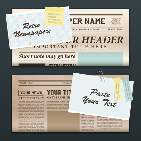 Vintage newspapers templates 2 top half front pages realistic retro horizontal banners set isolated vector illustration Illustration