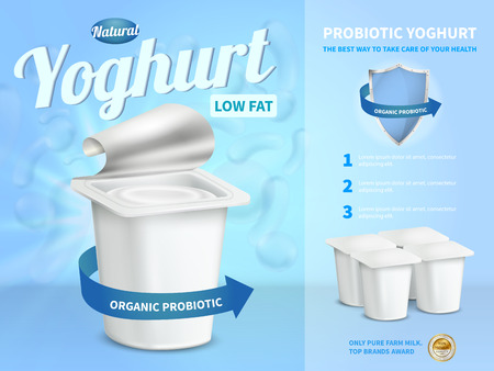 Yoghurt advertising composition with probiotic yoghurt symbols realistic vector illustration