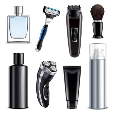 Équipement de rasage ensemble réaliste de flacon de rasoir manuel rasoir électrique avec lotion et spray de mousse en utilisant après rasage illustration vectorielle isolé