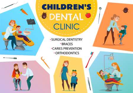 Colored pediatric dentistry poster children s dental clinic orthodontics braces surgical dentistry caries prevention descriptions vector illustration