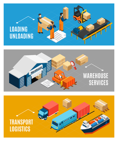 Logistics banners set with warehouse building and freight transport 3d isometric isolated vector illustration Illustration