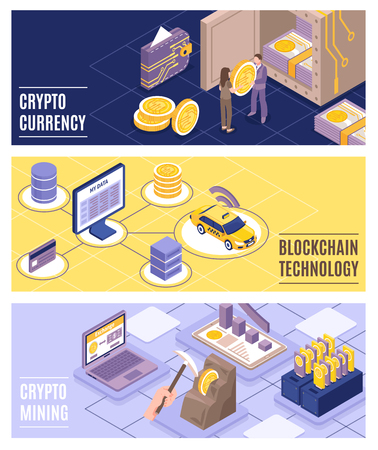 Cryptocurrency and blockchain technology horizontal banners set with colorful background 3d isometric isolated vector illustration